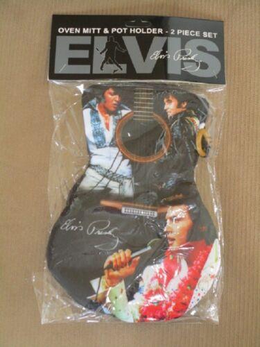 New Black Oven Mitt /& Potholder Set Elvis Presley Kitchen Guitar The King Photo