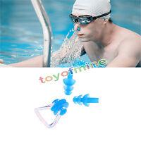 Waterproof Soft Silicone Swimming Set Nose Clip + Ear Plug Earplug COLORFUL NEW