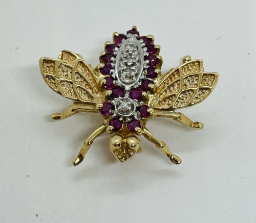 Vintage 14k Gold Diamond Ruby Bee Figural Pin 3.4g Bug Moth Insect