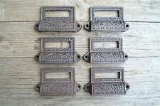 A set of 6 Edwardian cast iron label holder drawer pull furniture handles AL16