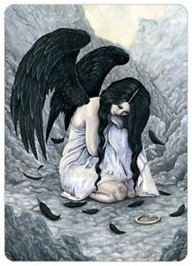 Gothic-Fantasy-Art-ACEO-PRINT-Angel-Fallen-Broken-Halo