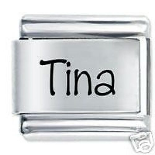 TINA Name 9mm Daisy Charm Fits Nomination Classic Size Italian Charms Bracelet