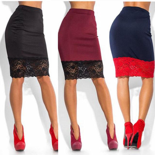 Women Elegant Floral Lace High Waist Wear to Work Party Bodycon Skirt AU