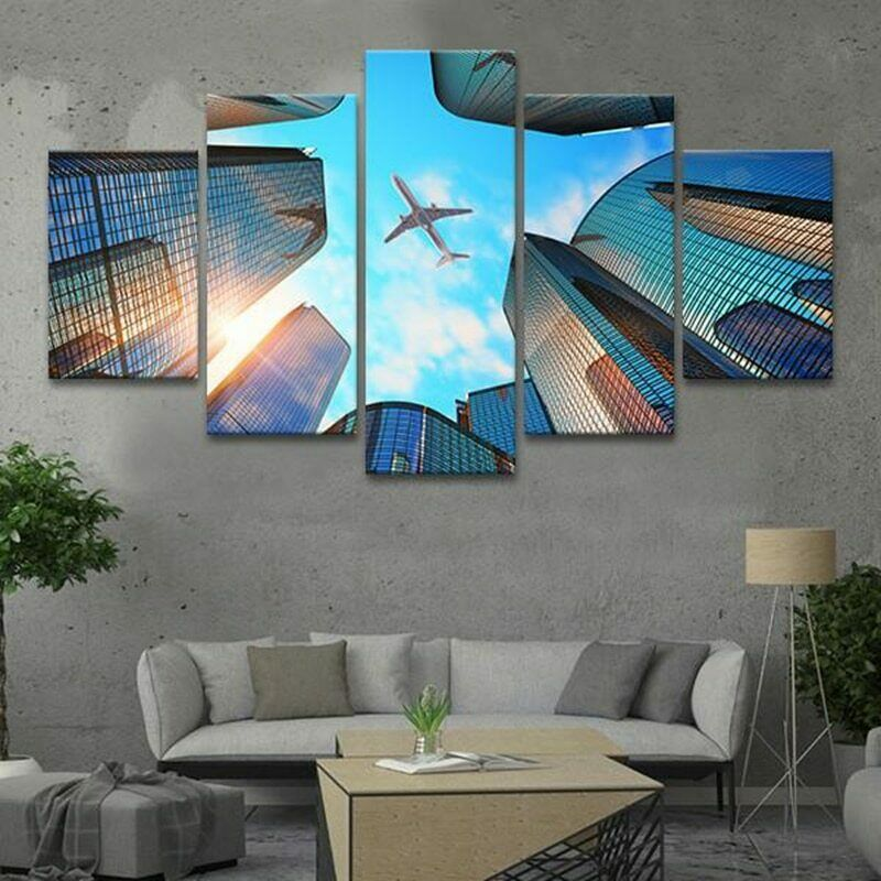 Airplane Flying in Modern City 5 Pcs Canvas Wall Room Home Decorating Poster