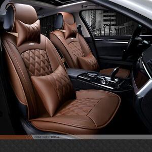 Universal Full Seat Pu Leather Car Seat Cover Cushion Luxury Coffee