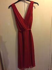 Hermoso Vestido de principios Rojo-Perfecto bodas, carreras Etc. Talla 14 en muy buena condición