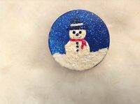Christmas Snowman Pin Hand Painted By Me - Missy - Very Cute