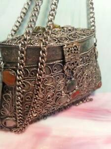 Handmade-SILVER-Plated-Chain-Bag-Purse-w-stones-decorated-artistically-crafted