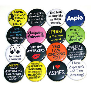 ASPERGER-039-S-SYNDROME-Set-of-16-BADGES-Buttons-Pins-Autism-Aspergers