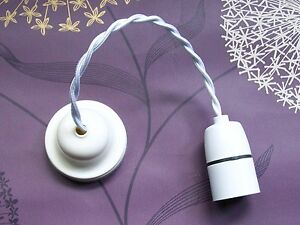 Restored Vintage Pendant -  Off White Bakelite Ceiling Rose & New Lamp Holder