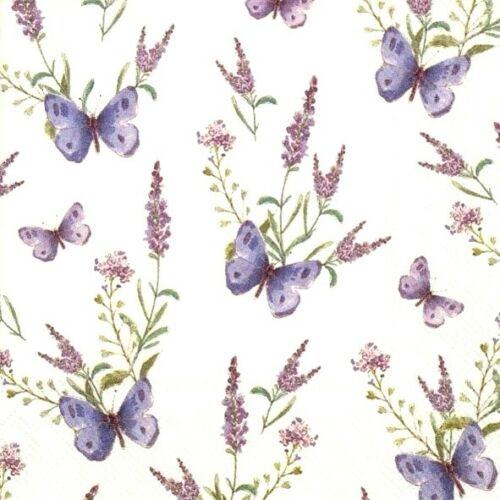 4 x Single Paper Table Napkin//33cm//3-Ply//Decoupage//Lavender//Butterflies
