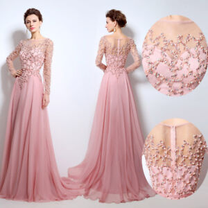 Formal-Long-Sleeve-Mother-of-the-Bride-Dress-Women-Beaded-Ball-Evening-Prom-Gown