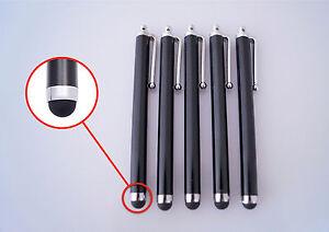 5-x-Stylus-Touchpen-schwarz-Eingabestift-Smartphone-Tablet-iPhone-Samsung-iPad