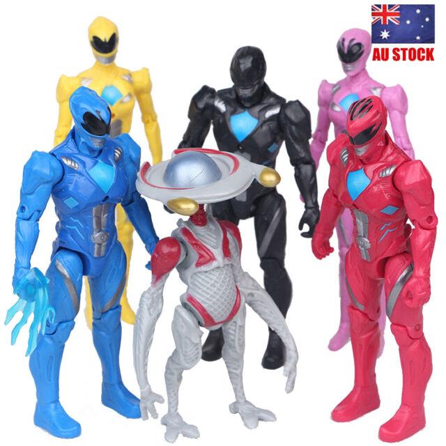 Power Rangers Yellow Black Red Ranger 6 PCS Movie Ranger Action Figure Kids Toys