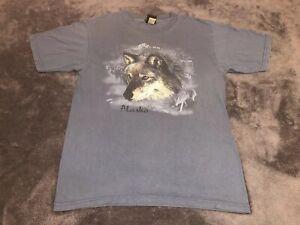 Vintage-Alaska-Wolf-Prairie-Mountain-T-Shirt-Size-Large-Grunge-Made-In-USA