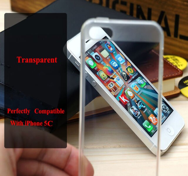 Clear Transparent Crystal Soft Slim TPU Silicone Skin Cover Case For iPhone 5C