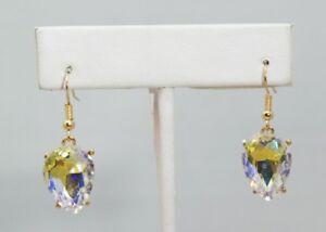 Oval-Egg-Shape-Silver-Austrian-Crystal-Gold-Plated-1-25-034-Dangle-Earrings-Gift