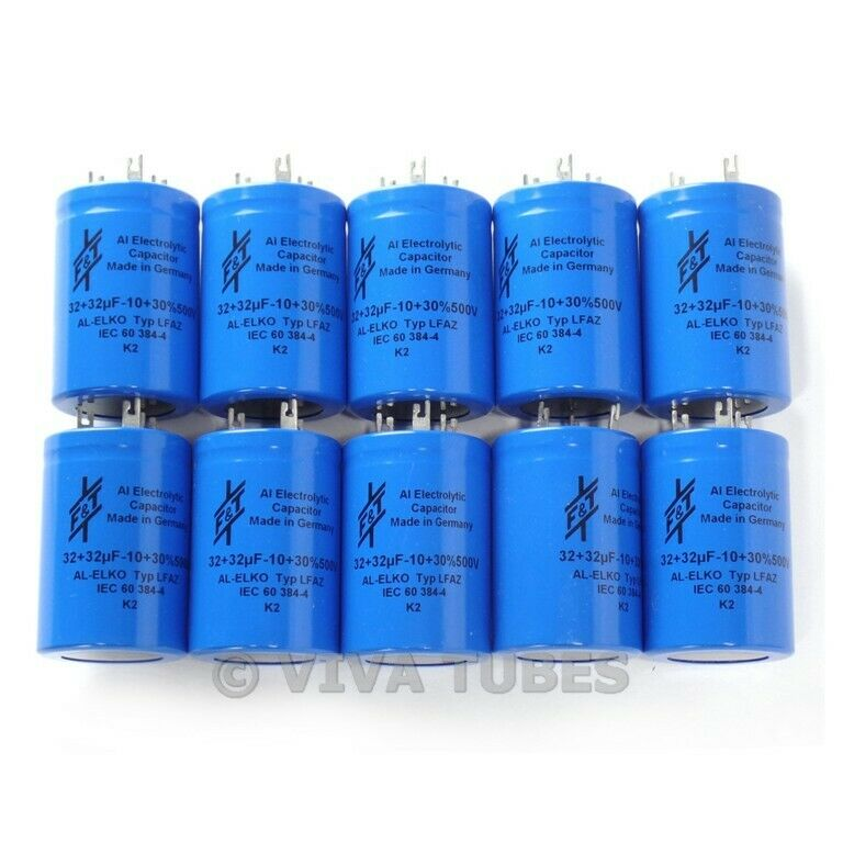 Lot of 10 F&T Dual Section Radial 32uF + 32 uF 500V Electrolytic Can Capacitors