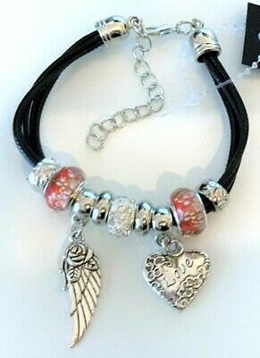 Gift Bag Posted same day Angel Feather Charm Angel Wing Bracelet Wing Charm Bracelet 21 Cord Colours