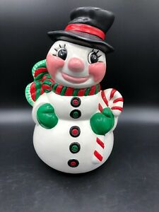 Vintage Holland Mold Hand-Painted  Ceramic Snowman 10 In Tall