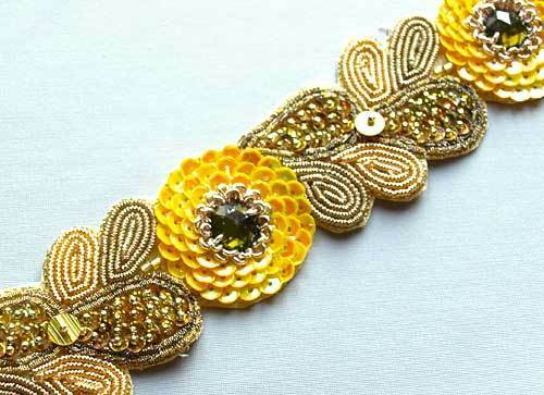 Yellow & Gold Sequins. Golden Hand-Beaded Trim. Affordable Luxury