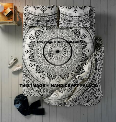 4 PC Set Ombre Mandala Indian Duvet Doona Cover With Bed Sheet /& Pillows Queen