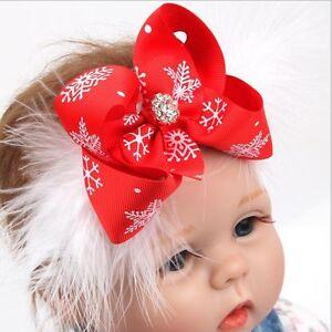 Christmas-Baby-Girls-Toddler-Bow-Feather-Headband-Snow-Flower-Girl-Hair-Headwear
