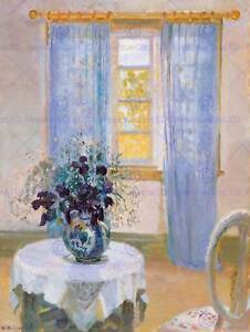 PAINTING-INTERIOR-STUDY-ANCHER-TABLE-CLEMATIS-POSTER-ART-PRINT-BB12507B