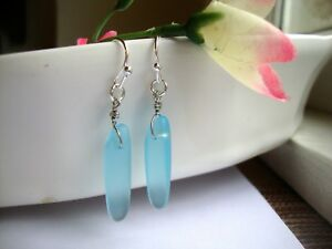 Ocean-Blue-BEACH-GLASS-Silver-Dangle-Earrings-Seaglass-USA-HANDMADE
