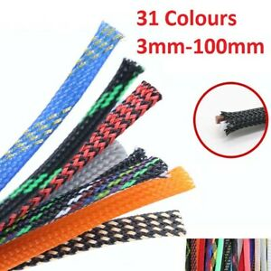 Braided Cable Sleeving//Auto Wire Harnessing Expandable Transparent 3mm to 12mm