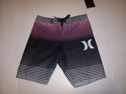 NEW Hurley black pink stripe boys youth swim board shorts swimsuit sz 4 or 7