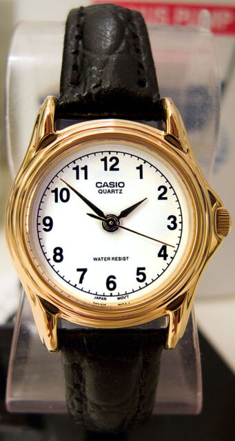 Casio Women's White and Gold Analog Black Leather Band Watch LTP-1096Q-7B New