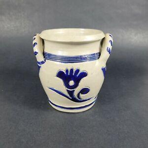 Vintage WILLIAMSBURG RESTORATION Pottery Stoneware Crock Cobalt Blue Salt Glaze