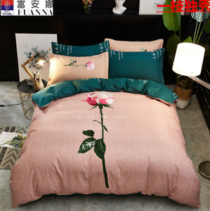 4 Pcs Duvet Covers With Fitted sheet Bedding Set + 2 Pillow Case