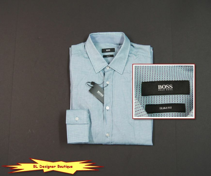 89576dc2d HUGO BOSS Robbie Woven Cotton Slim Fit Micro Pattern Sport Shirts NEW NWT