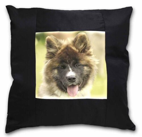 AD-A4-CSB Beautiful Akita Dog Black Border Satin Feel Cushion Cover With Pillow