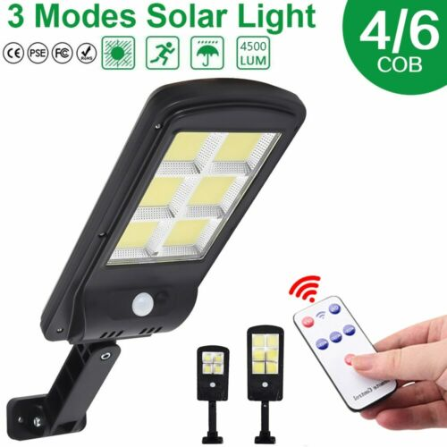 Solar LED Street Light Wall Lamp PIR Sensor COB Remote Control Lamp Waterproof