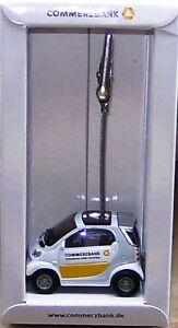 Werbemodell-Siku-1067-Smart-mit-Merkzettelhalter-weiss-gelb-034-Commerzbank-034-OVP
