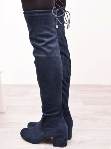 Ladies Womens Thigh High Over The Knee Block Mid Heel Party Boots Shoes Size 3-8