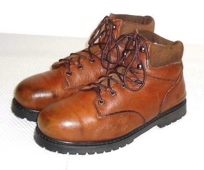 Work Master Men's Brown Leather Steel Toe Distressed Work Boot Size 11.5 M