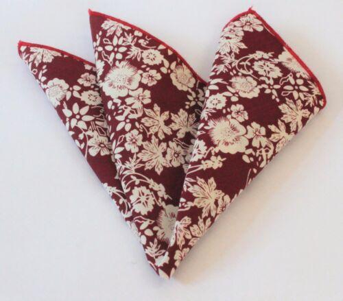 Mouchoir de poche carré coton mouchoir rouge foncé avec blanc cassé fleuri CH158