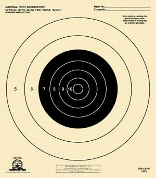 B-16 [B16] NRA Official 25 Yard Slow Fire Pistol Target (box 1,000) Tagboard