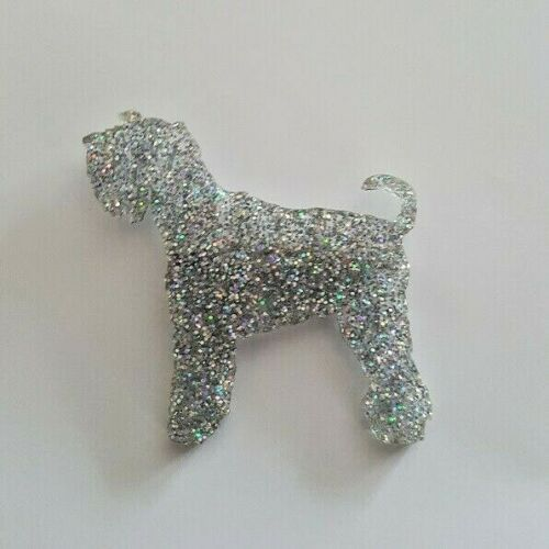 MINIATURE SCHNAUZER BROOCH BADGE SILVER ACRYLIC GLITTER NICE /& SPARKLY DOG