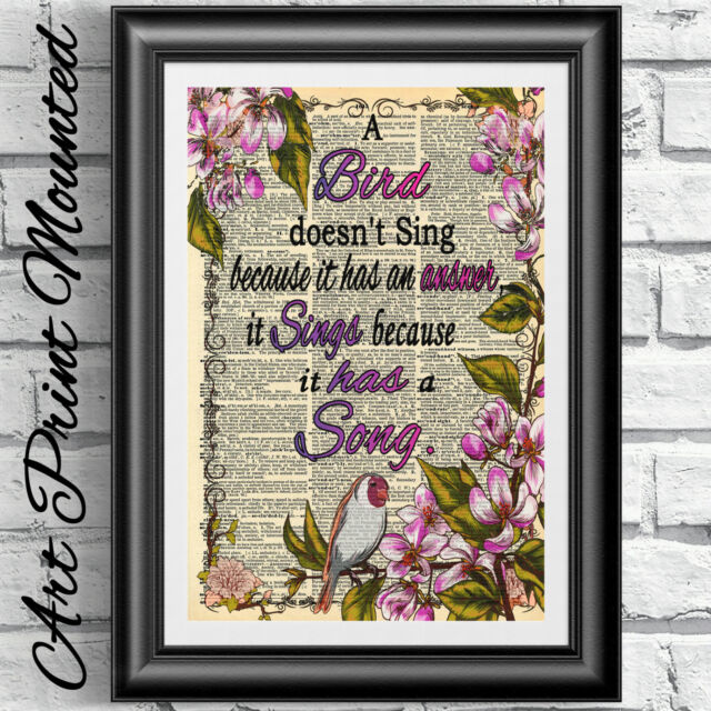 ART PRINT ON ORIGINAL ANTIQUE BOOK PAGE Mounted Inspirational Quote Bird Flowers
