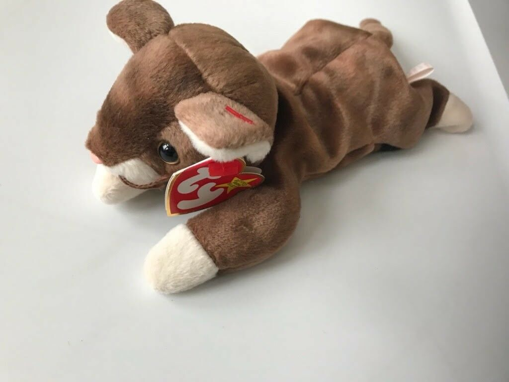 Ty Beanie Pounce 1997 Brown and Beige Cat 8.5  Stuffed Plush Animal Pellets Rare