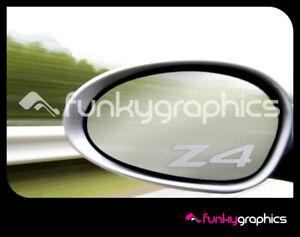 BMW-Z4-LOGO-MIRROR-DECALS-STICKERS-GRAPHICS-DECALS-x-3-IN-SILVER-ETCH