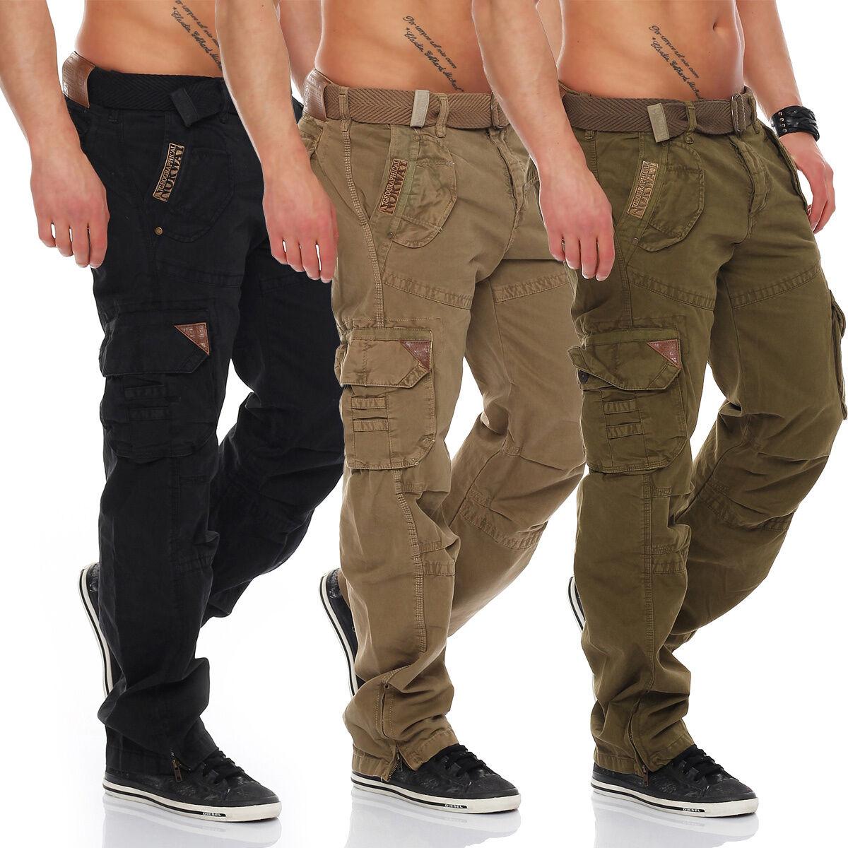Geographical Norway Uomo Pantaloni Cargo Shorts Pantaloni Uomo ARMY tempo libero cargopants