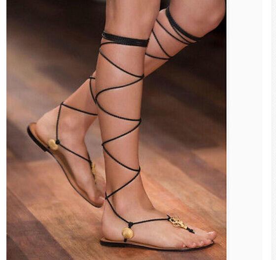 Moda Moda Moda Para Mujer De Cuero Cross lazada Sandalias Gladiador Romano zapatos planos de la población romaní  con 60% de descuento