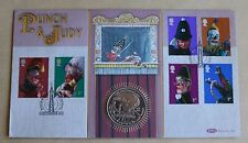 PUNCH & JUDY 2001 BENHAM FDC + 2001 GIBRALTAR CHARLES DICKENS OLIVER TWIST COIN