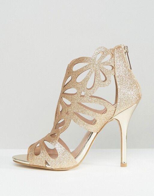 Miss KG Stiletto Chaussures... paillettes d'or... UK 8 EU 41... Fermeture de vente